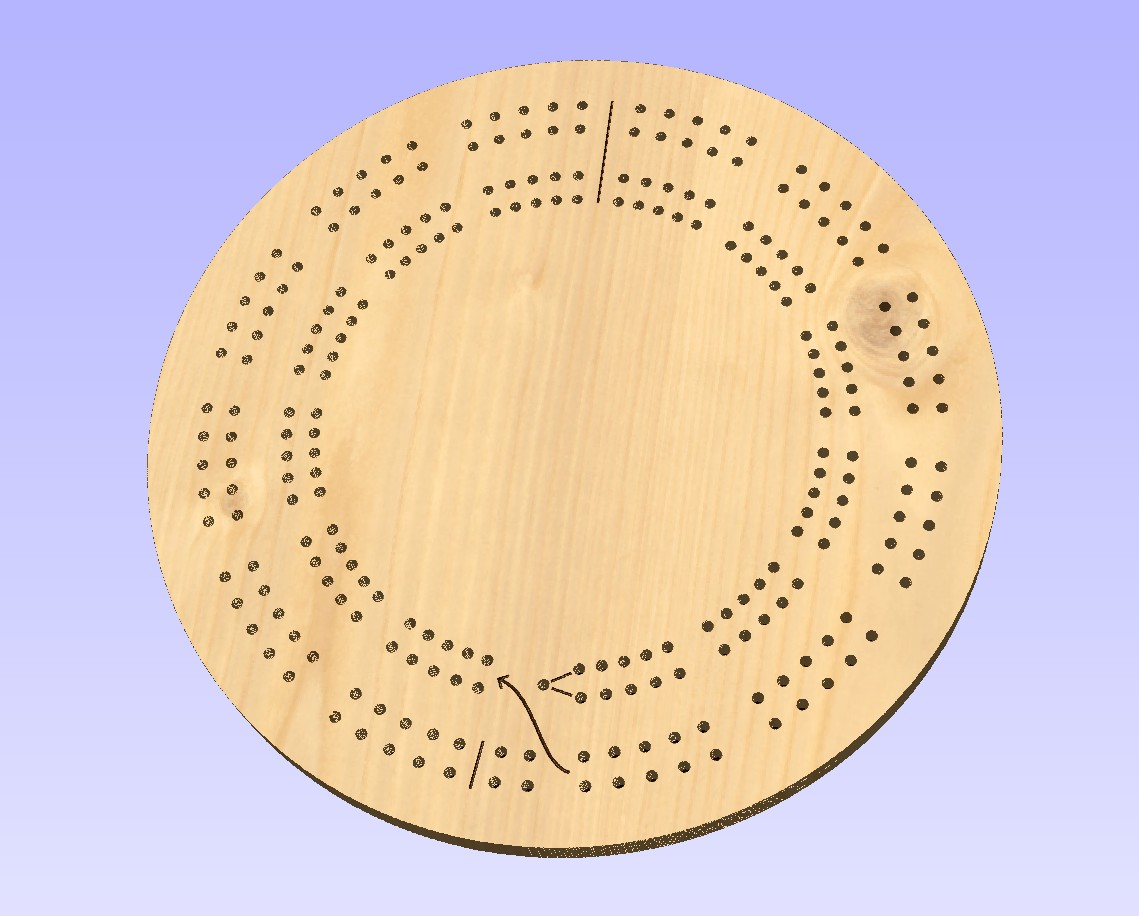 cribbage board drilling templates - 15 inch round giant 2 track template