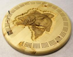 Leaping Bass Round Cribbage Board